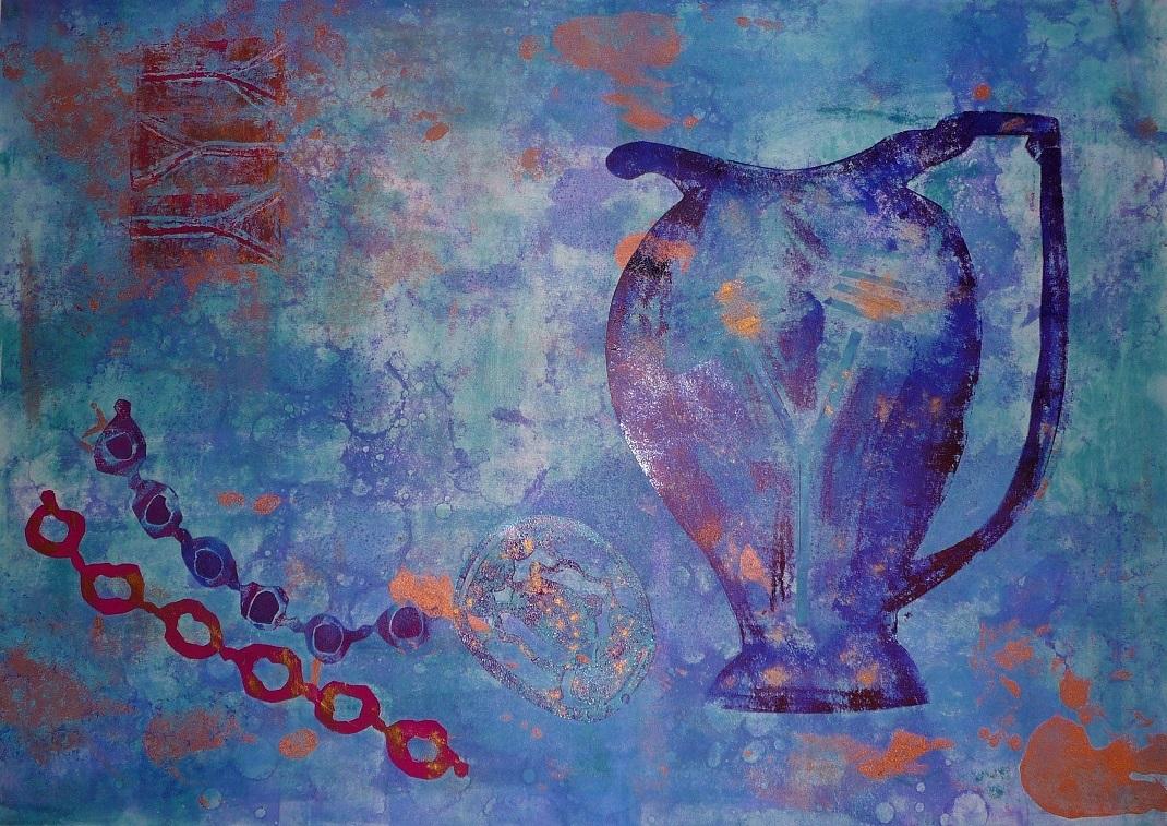 Artwork - Blue Fragment monoprint & stencil Print | Jacki Baxter - monoprint & stencil
