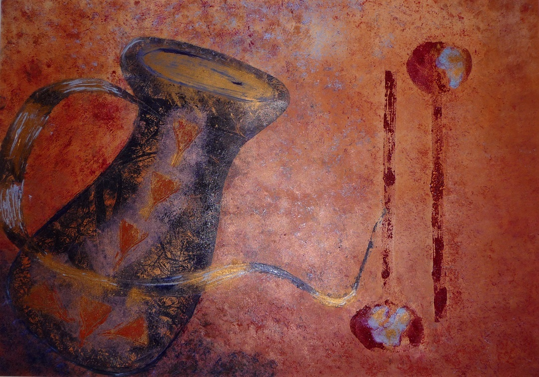 Artwork - Red Fragment monoprint & stencil Print   Jacki Baxter - monoprint & stencil