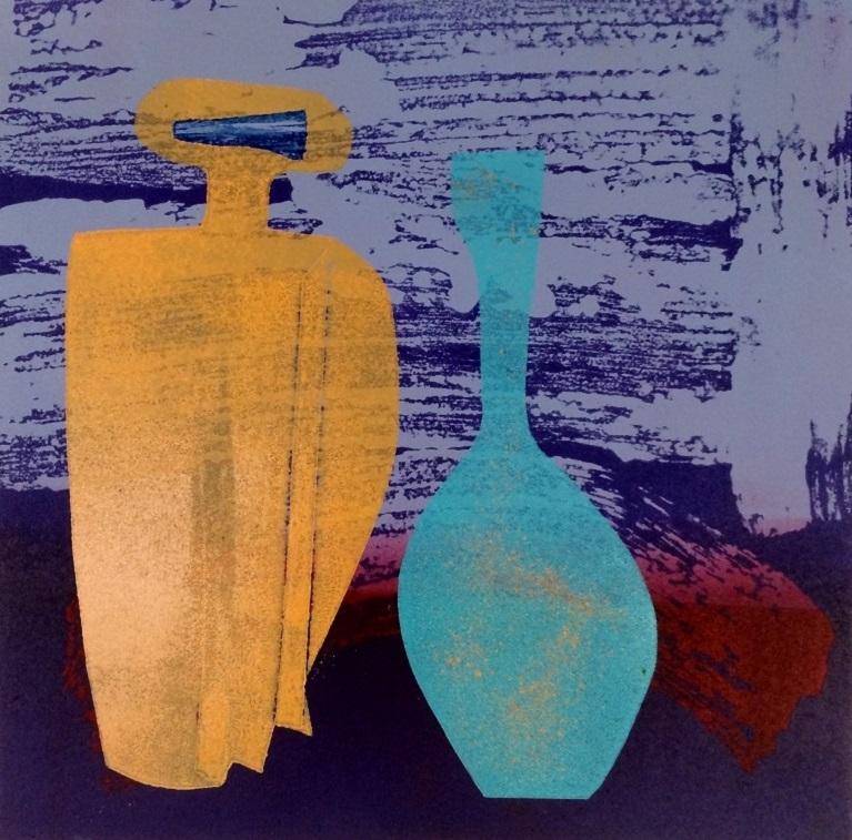Artwork - Distillation. No 3. etched lino & stencils Print | Jacki Baxter - etched lino & stencils