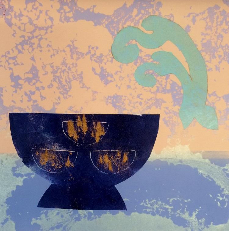 Artwork - Distillation. No 4. etched lino & stencils Print | Jacki Baxter - etched lino & stencils