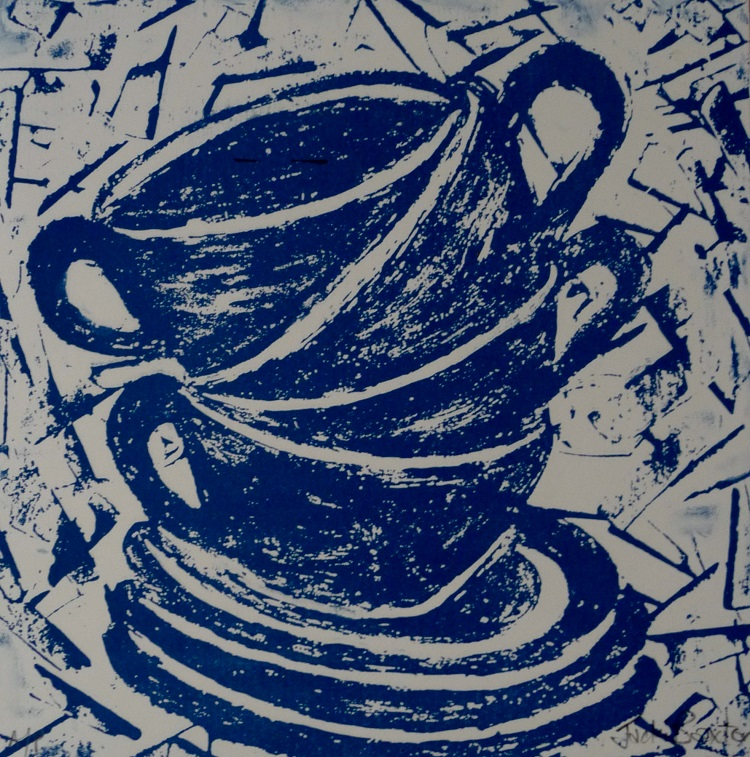 Artwork - Cha Cha Cha etched lino Print | Jacki Baxter - etched lino