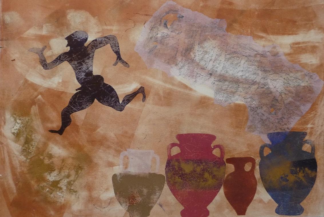 Artwork - Natural High monoprint & stencil Print | Jacki Baxter - monoprint & stencil