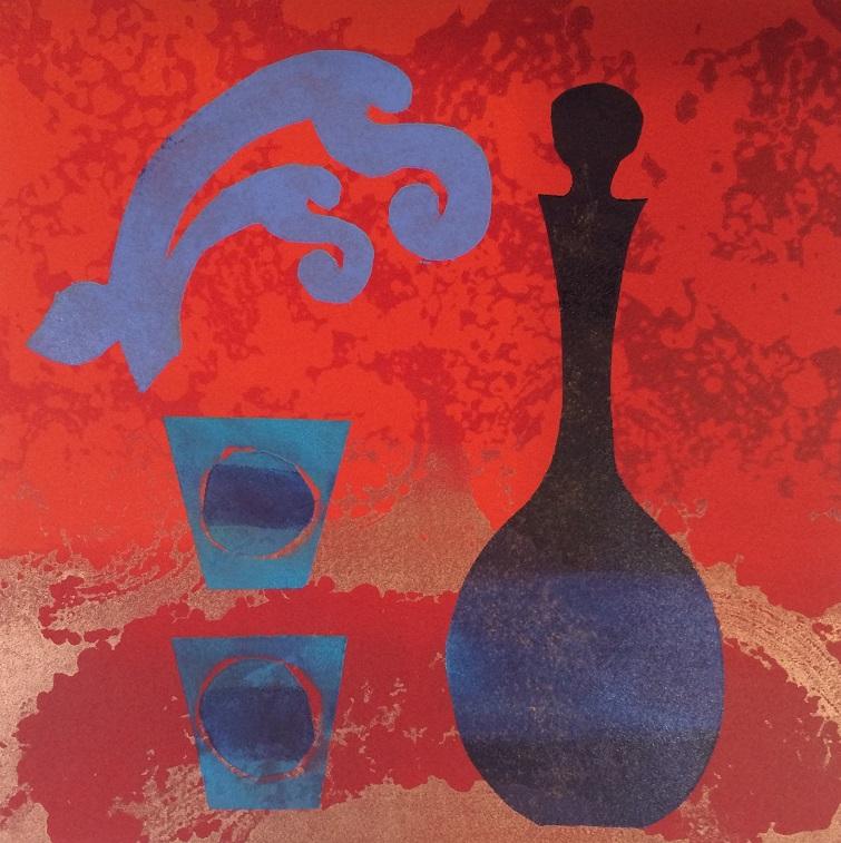 Artwork - Distillation. No 6. etched lino & stencils Print | Jacki Baxter - etched lino & stencils