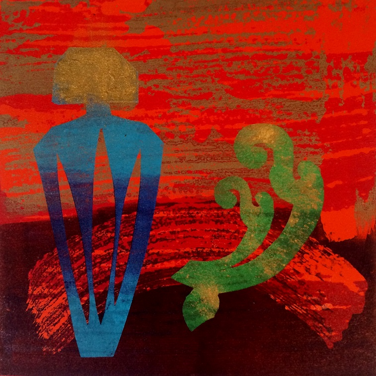 Artwork - Distillation. No 7. etched lino & stencils Print | Jacki Baxter - etched lino & stencils