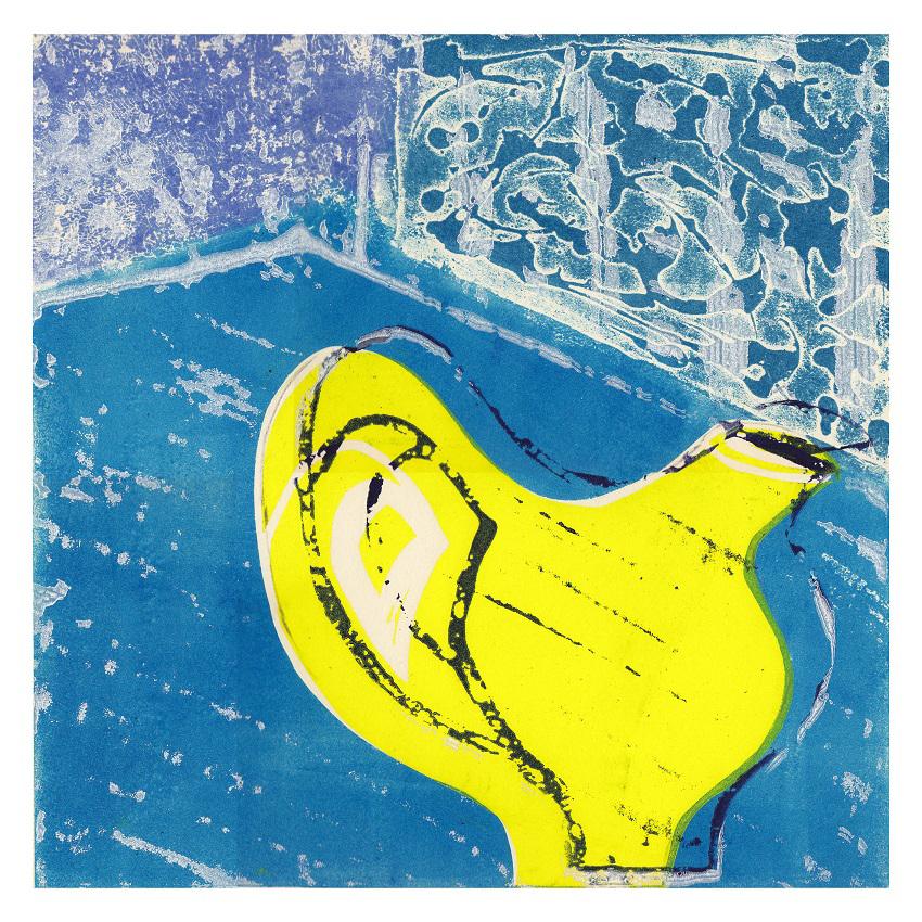 Artwork - Yellow Jug etched lino Print | Jacki Baxter - etched lino