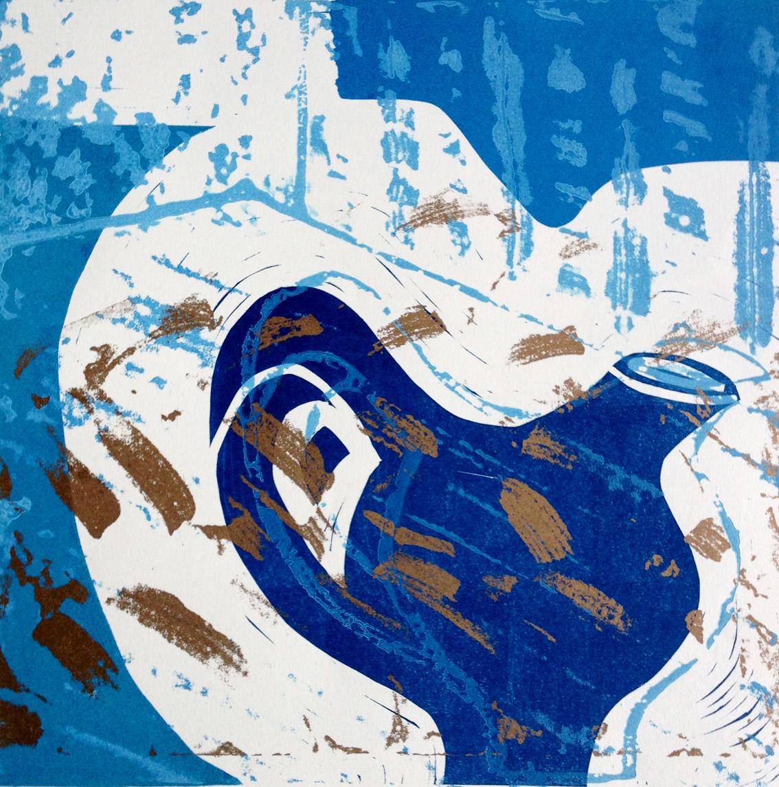 Artwork - Blue And Gold Jug etched lino Print | Jacki Baxter - etched lino