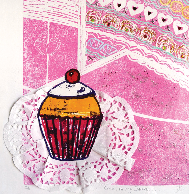 Artwork - Come In My Dears linocut & mixed media Print | Jacki Baxter - linocut & mixed media