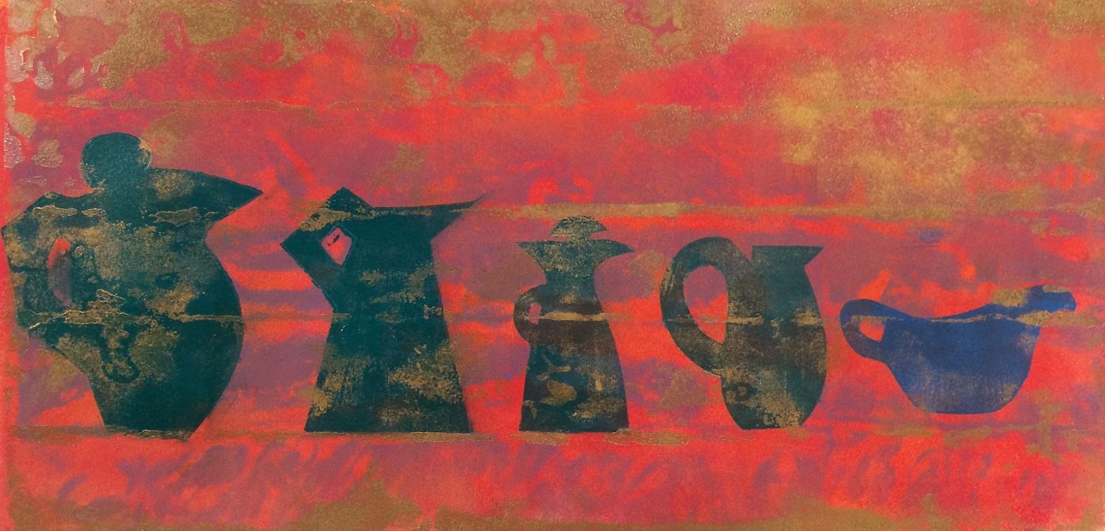 Artwork - Demi Monde Etched Lino & stencils Print   Jacki Baxter - Etched Lino & stencils