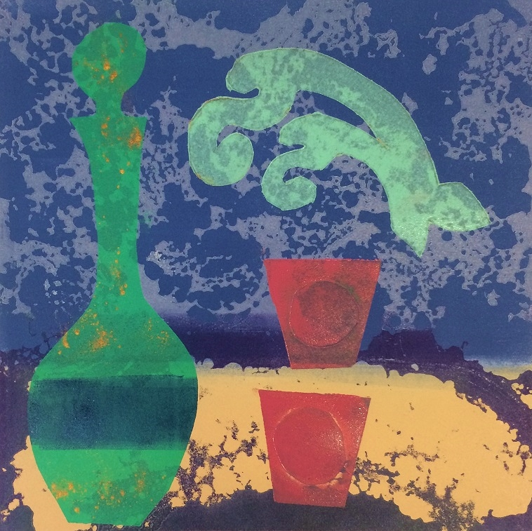 Artwork - Distillation. No 1 etched lino & stencils Print   Jacki Baxter - etched lino & stencils