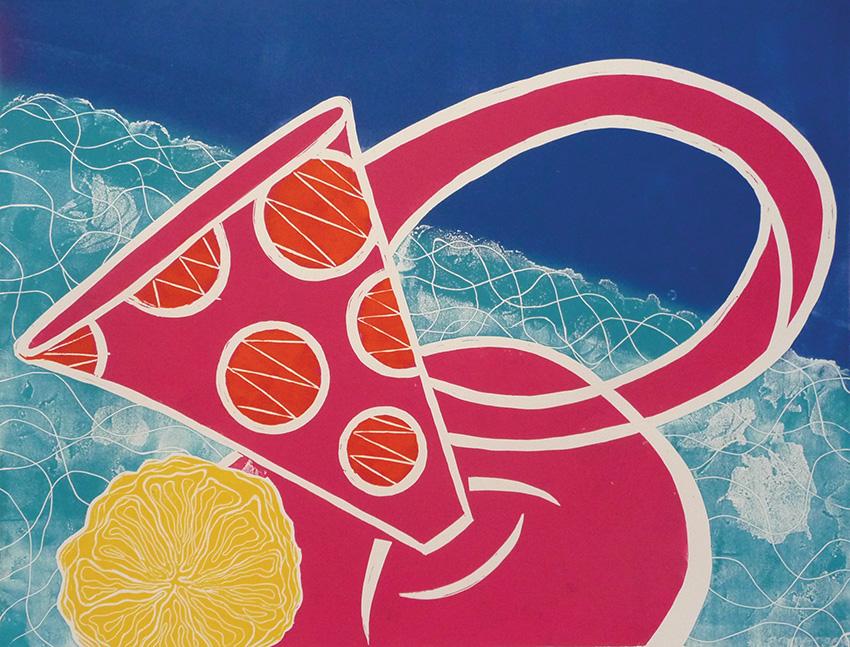 Artwork - Down By The Blue Side linocut Print | Jacki Baxter - linocut