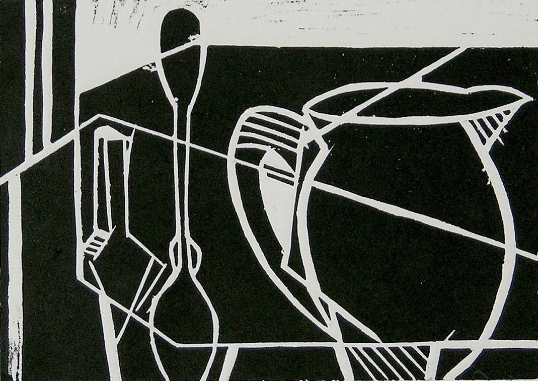 Artwork - Jug And Two Spoons linocut Print   Jacki Baxter - linocut
