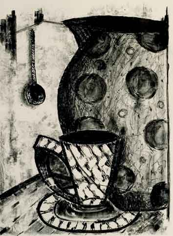 Artwork - Spotted Jug stone lithography Print | Jacki Baxter - stone lithography
