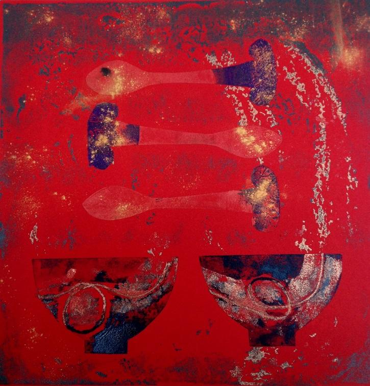 Artwork - Fragments etched lino & stencils Print | Jacki Baxter - etched lino & stencils