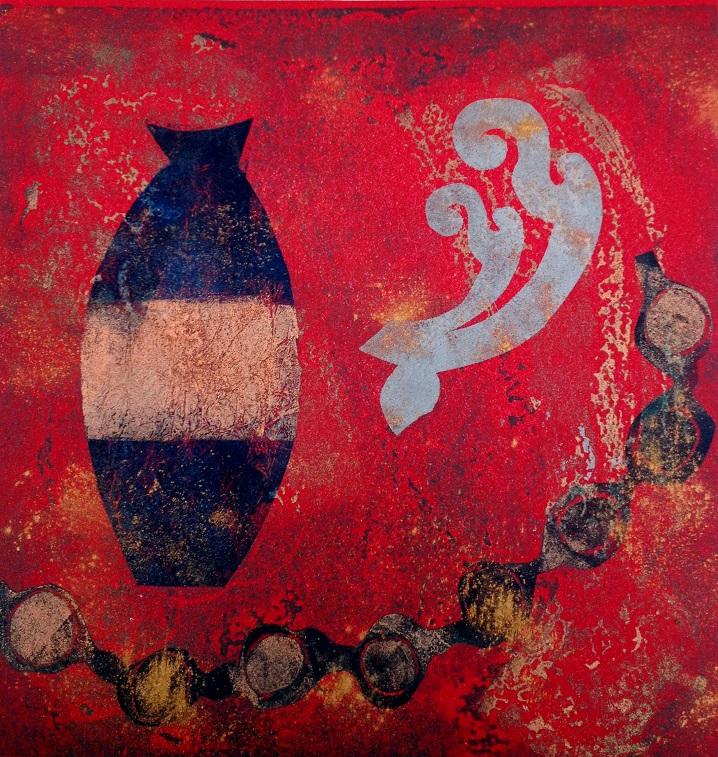 Artwork - Golden Urn etched lino & stencils Print | Jacki Baxter - etched lino & stencils