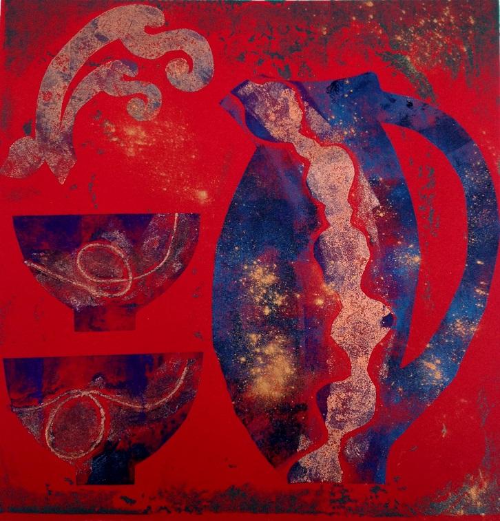 Artwork - Sheltering Jug etched lino & stencils Print | Jacki Baxter - etched lino & stencils