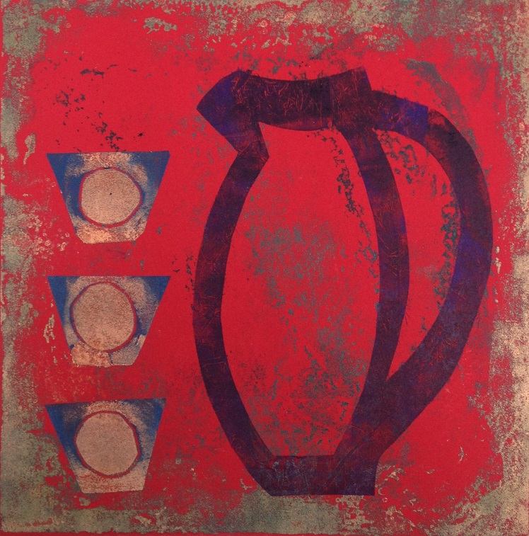 Artwork - Red etched lino & stencils Print | Jacki Baxter - etched lino & stencils