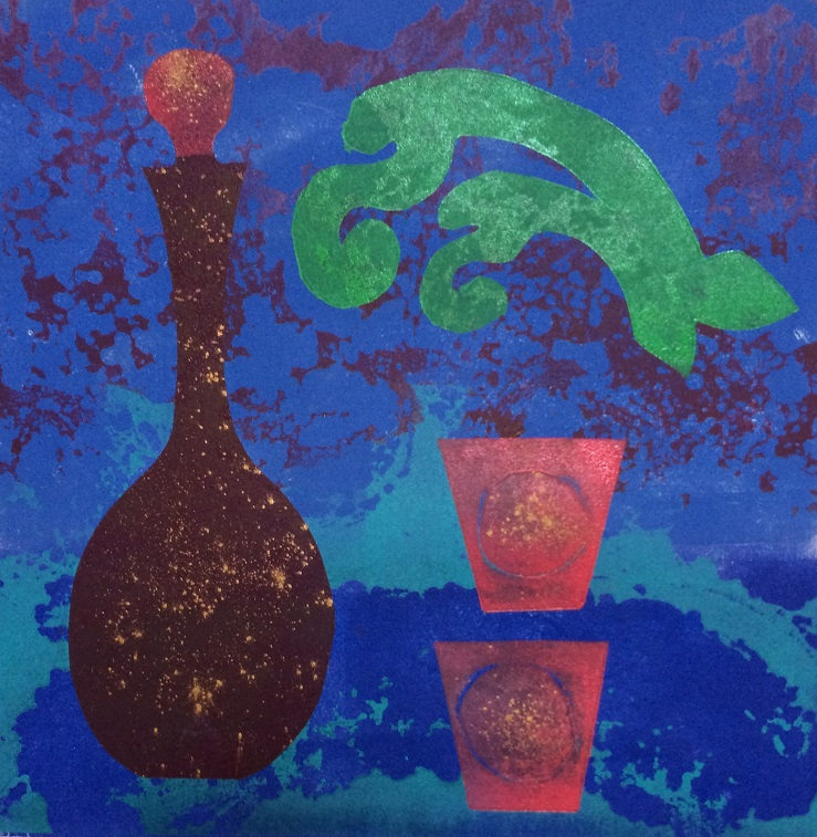 Artwork - Distillation. No 9. etched lino & stencils Print | Jacki Baxter - etched lino & stencils