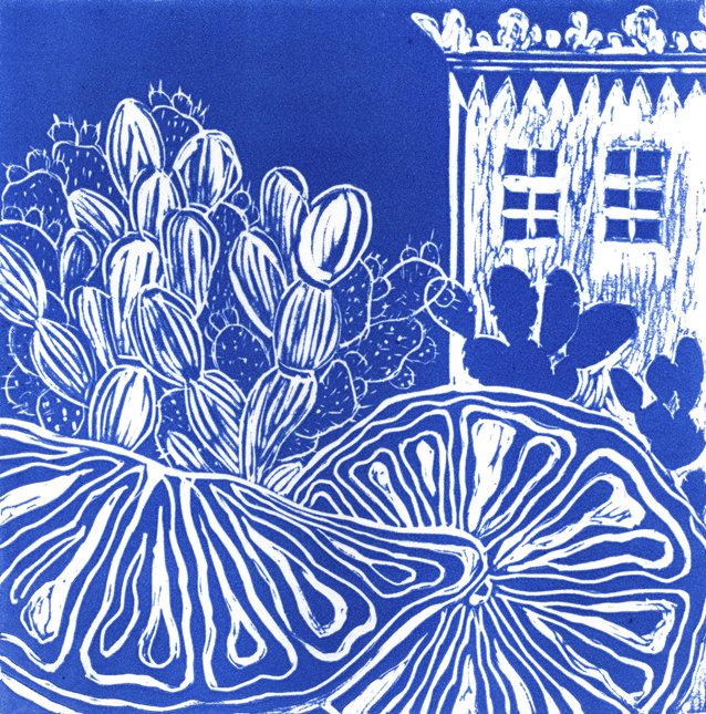 Artwork - Lemons In Puglia linocut Print | Jacki Baxter - linocut