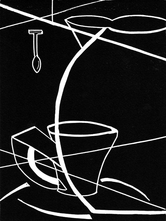 Artwork - Crossed Lines linocut Print | Jacki Baxter - linocut