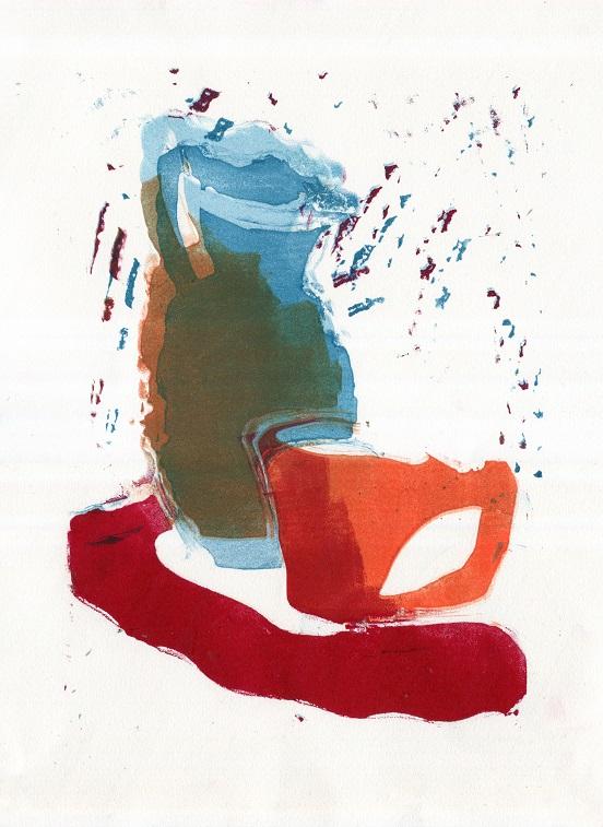 Artwork - Wobble Jug etched lino Print | Jacki Baxter - etched lino